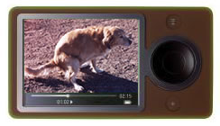 Microsoft Zune music player, clad in brown, player showing a photo of a defecating dog
