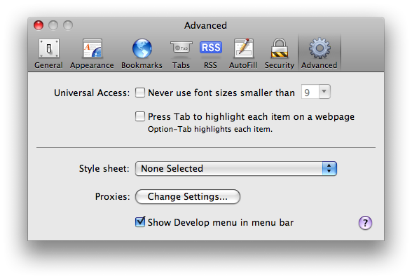Turn on the develop menu in the advanced tab of the preferences pane